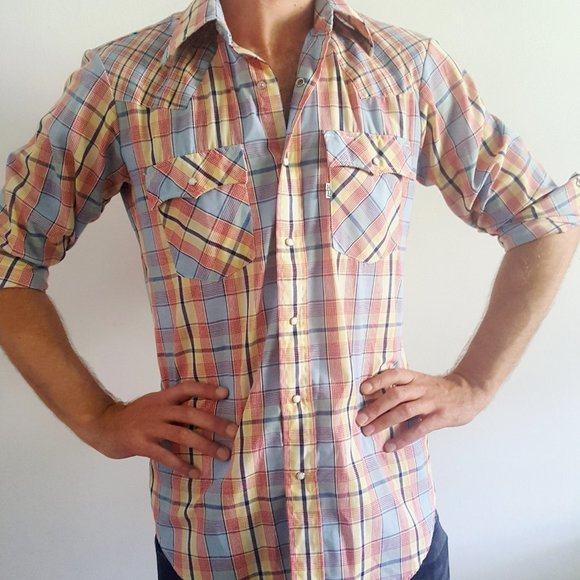 1980's Plaid Cowboy Shirt with Snap Buttons